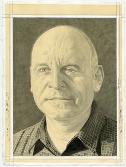 This is a pencil drawn portrait of Studio Institute President, Thomas Cahill, with a shaded background, drawn by the Rail's publisher Phong Bui.