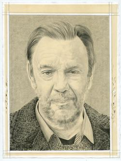 Portrait drawing of David Carrier by Phong Bui