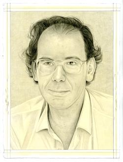 This is a pencil drawn portrait of scholar Donatien Grau with an off-white background, drawn by the Rail's publisher Phong Bui.