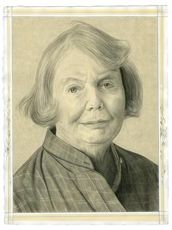 This is a pencil drawn portrait of the Director of Clocktower Productions, Alanna Heiss, with an off-white background, drawn by the Rail's publisher Phong Bui.